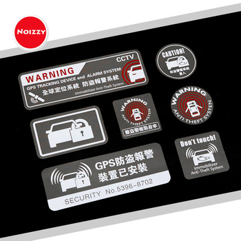 Noizzy Warning Anti Theft System Caution Car Window Sticker Vinyl Auto Decal Reflective GPS Tracking Lock Tuning Car Styling 1
