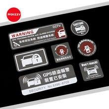 Noizzy adesivo de cautela para janela, sistema de advertência anti-roubo, decalque automático em vinil, refletor de gps, trava e ajuste do carro