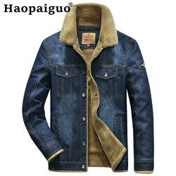 M-4XL, большие размеры, джинсовые куртки для мужчин, кашемировый воротник, толстые теплые джинсы, верхняя одежда, пальто певицы, на пуговицах, ...