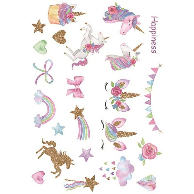 Creativo lindo unicornio de dibujos animados pegatinas temporales juguete para niños niñas niños fiesta suministros autoadhesivo DIY manual pegatina