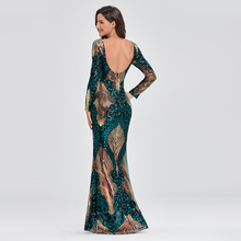 O-neck Long-Sleeve Shinning Sequins Evening Dresses Sexy Backless Mermaid Party Gowns Maxi Elegant Multi Female Robes vestidos