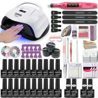 80W UV Lamp Nail Set For Manicure Kit 10&20 Color Gel Varnish Set Nail Drill Machine Kit Nail File Tool Nail Extension Set