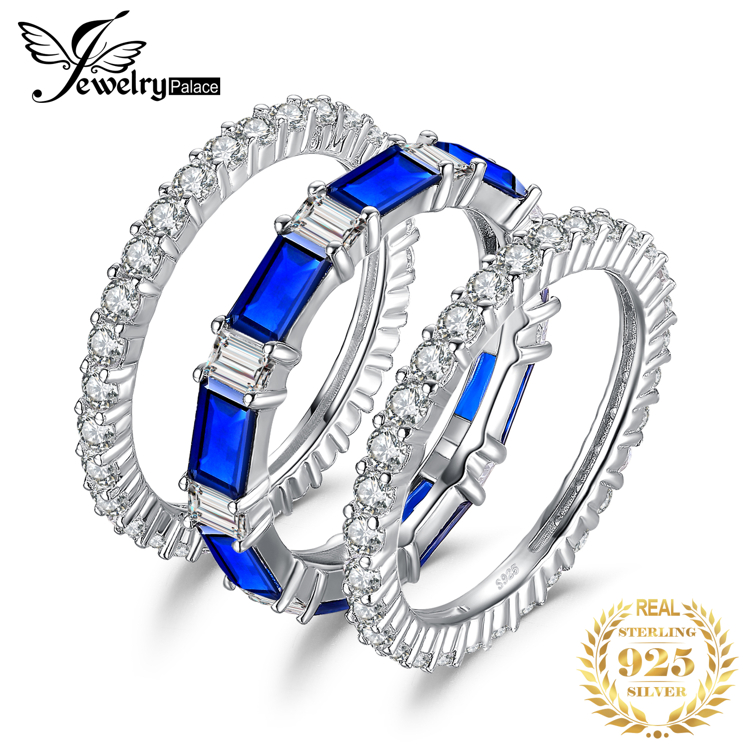 7ct Created Spinel Wedding Rings Sets 925 Sterling Silver Rings For Women Anniversary Eternity Stackable Band Silver 925 Jewelry