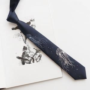 Image 3 - Free shipping New Mens male fashion printed Original Deep Sea Jellyfish bilingbiling embroidery deep blue tie light necktie