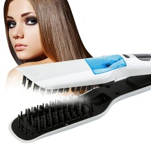 лучшая цена Professional Hair Straighten Steam Hair Straightener Brush Comb Ceramic Tourmaline Ionic Flat Iron Hair Straightener Curler Lcd