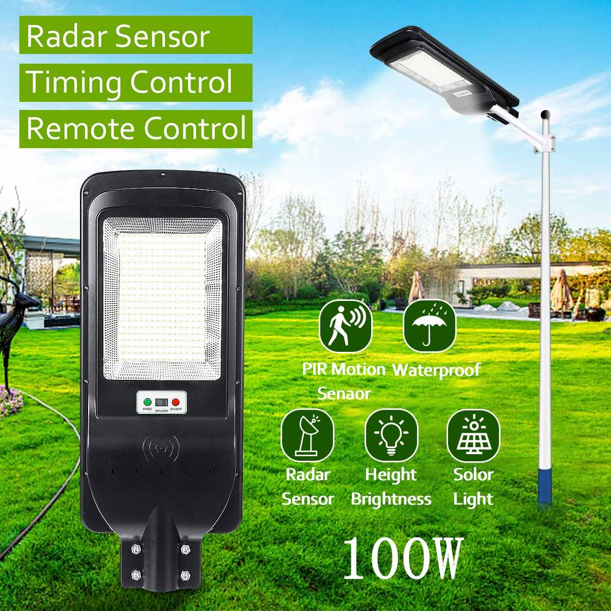 100W 300 LED Solar Licht mit Timing Fernbedienung 5730smd Radar Sensor Outdoor Solar Beleuchtung Wasserdichte IP65 für Garten hof