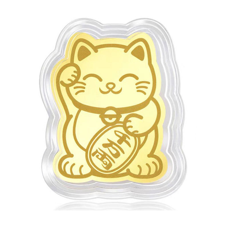 High Gold Foil Lucky Cat Mobile Phone Decoration Sticker Au999.9 Gold Lucky Cat Gold Patch KTC 66