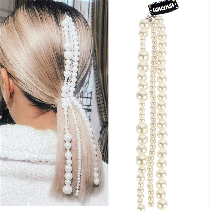 CC Clip de perla para el cabello para mujer y niña, horquillas, accesorios de boda, nupciales, íntegramente con perlas, diseño de borla, ropa de fiesta fina, M120