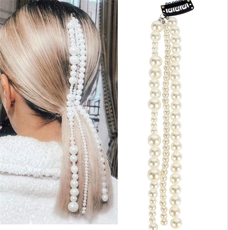 CC Pearl Hair Clip Combs Hairpins Wedding Accessories For Women Bridal Girls Full Pearls Tassel Design Fine Party Hairwear M120
