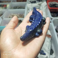 Natural Stone Lapis Lazuli Labradorite Crystal Carved Crocodile Healing Crystal Fashion Carved Animal Figurine Gifts