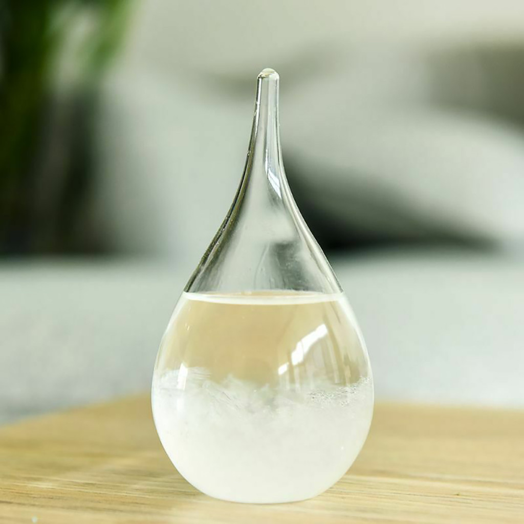 Weather Crystal Bottle Drop Water Shape Glass Decor Office Desk Home Transparent Storm Glass Weather Forecast Bottle Gift