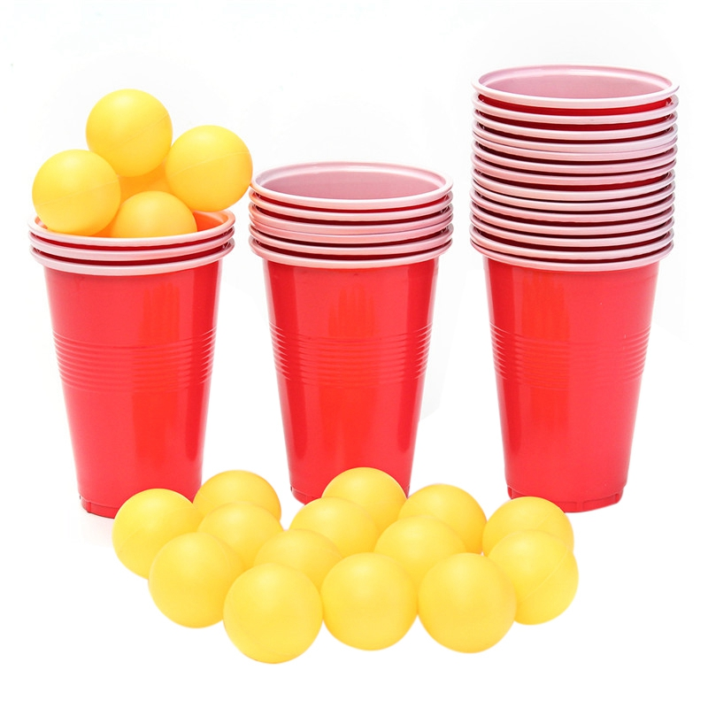 Hot HG-New Event Supplies Beer Pong Kit Party Fun 24Cups 24 Balls For Adult Table Top Board Games Drinking Game Pub Bar Bbq Gift