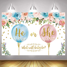 Boy or Girls Gender Reveal Photo Backdrop Happy Birthday Party He or She Photography Background Decoration Photocalls Banner