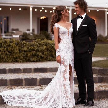 Sexy Design Illusion Lace Wedding Dresses ;Long Sleeve Deep V Neck Sheer Back High Slit Mermaid Bridal Gowns 2020 Customize v neck slit sleeve high low blouse