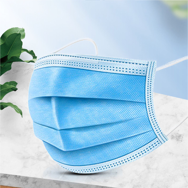 Disposable Mask 3-Layer Non-woven Disposable Elastic Mouth Masks Soft Breathable Flu Hygiene Face Mask Anti-pollution 4