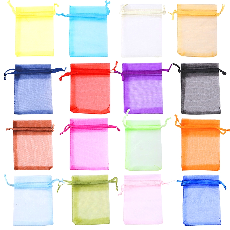 50pcs/lot 5*7 7*9 9*12cm Colorful Organza Bags Drawstring Jewelry Pouches Jewelry Packaging Bags Wedding Gift Bags 22 Colors