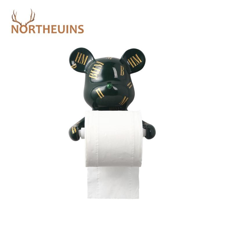 NORTHEUINS Resin Bear Rall Paper Towel Holder Figurines Nordic Animal Hanging Tissue Box Holder Rack Interior Modern Wall Decor