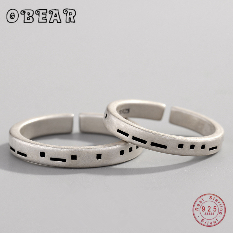 OBEAR 100% 925 스털링 실버 러브 모스 코드 반지 여성을위한 패션 쥬얼리 간단한 커플 반지