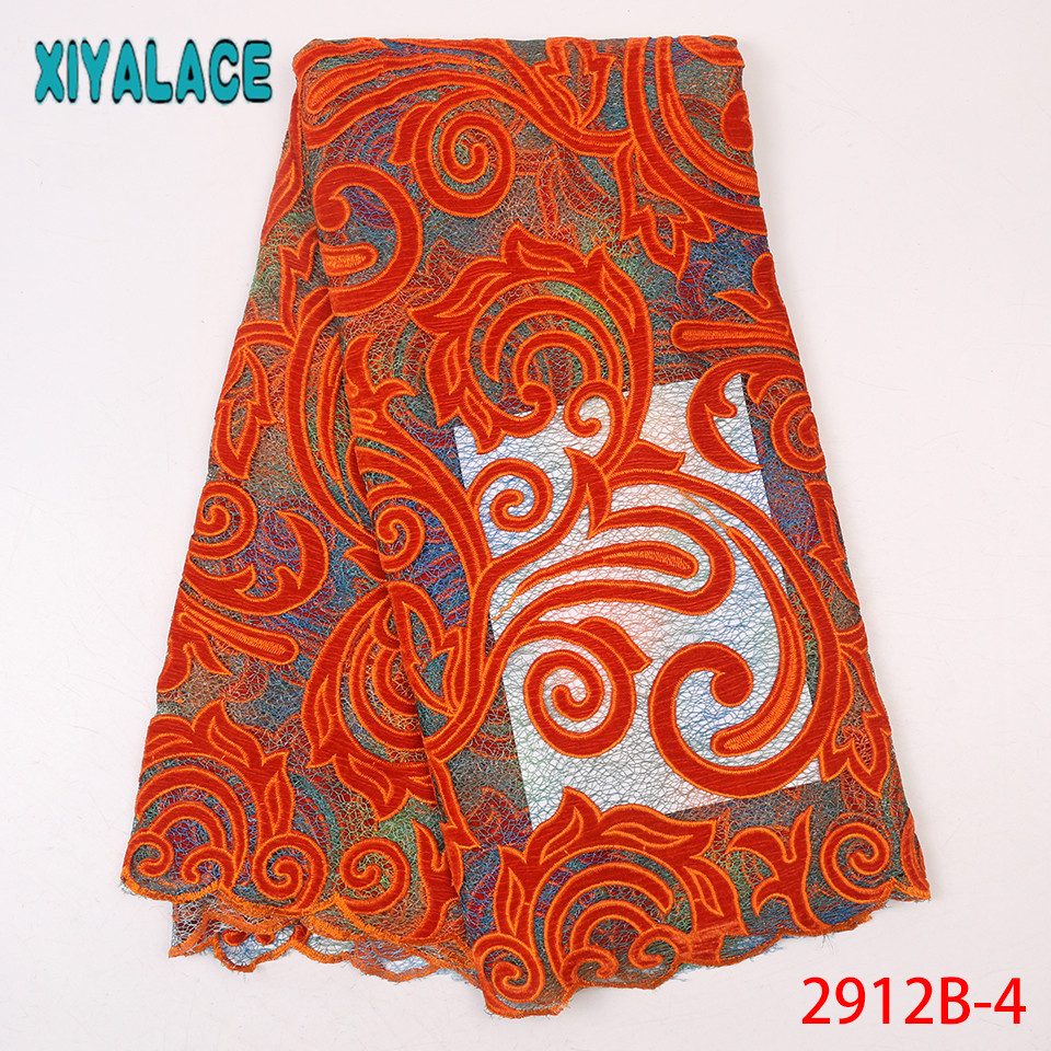 Orange African Lace Fabric,2019 High Quality Lace Tulle,Latest Nigerian Velvet Lace For Women KS2912B-4