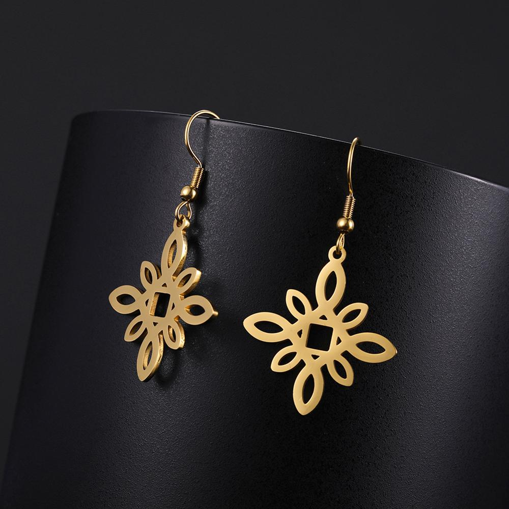 My Shape Stainless Steel Earrings For Women Flower Round Pendant Gold Color Earrings Dangle Jewelry Mother's Day Gift New