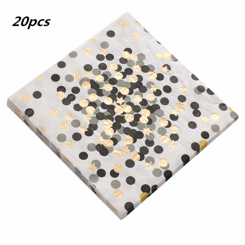 20pcs/pack Various styles Gold Pink Blue Dot Tableware Paper Napkin Baby Shower Wedding Birthday Hen Party Decorations Supplies