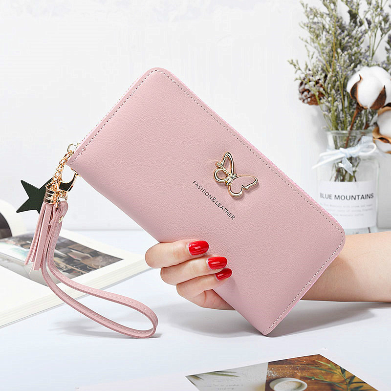 Fashion Butterfly Women Wallet Wrist Handle Phone Case Long Section Money Pocket Pouch Handbag Women's Purse Card Holders 2019
