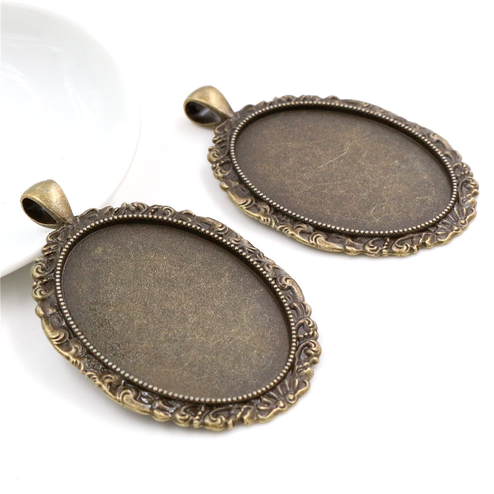 New Fashion  5pcs 30x40mm Inner Size Antique Bronze Flowers Style Cabochon Base Setting Charms Pendant (B1-22)