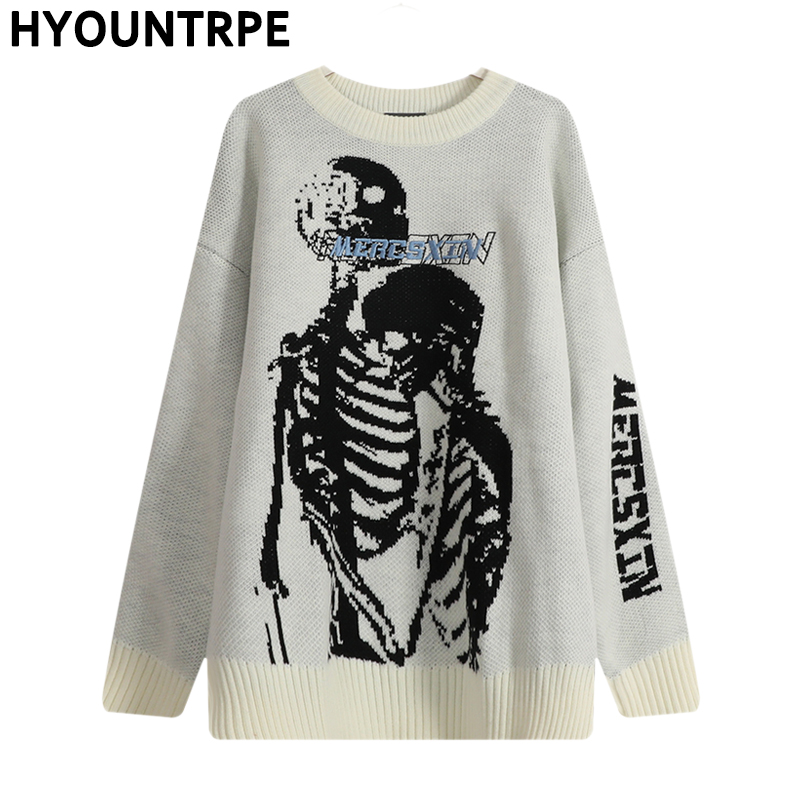 Hip Hop Skull Knitted Oversized Sweater Mens Autumn Winter O-neck Long Sleeve Pullover Streetwear New Loose Sweaters Clothing