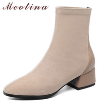 Meotina Genuine Leather Ankle Boots Women Shoes Square Toe Block Heels Mid Heel Short Boots Autumn Ladies Boots Black Size 43 meotina cow suede high heel short boots ankle boots women shoes square toe block heels zipper boots ladies black winter size 43