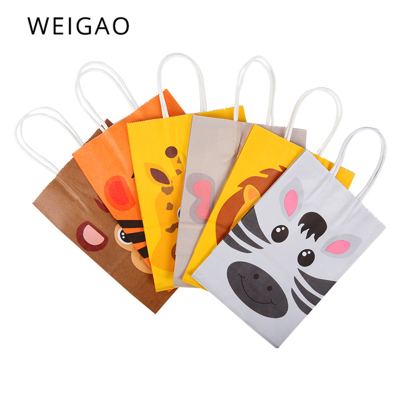 WEIGAO 12pcs Safari Party Paper Bags For Kids Birthday Party Animals Gift Bags Box Jungle Zoo Candy Bags Boxes Decor Baby Shower