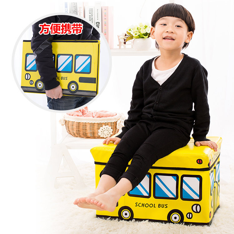 Baby Leather Foldable Cartoon Toys Storage Chair Box People Life Supplies Storage Stool Car Organizing Storage Box