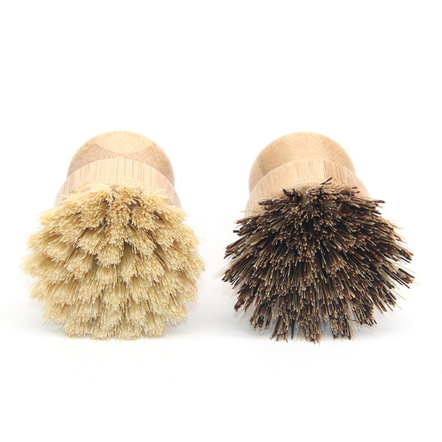 Useful High Quality Kitchen Cleaning Brush Sisal Palm Bamboo Short Handle Round Dish Brush Bowl Pot Brush Durable Cleaning Tool 6