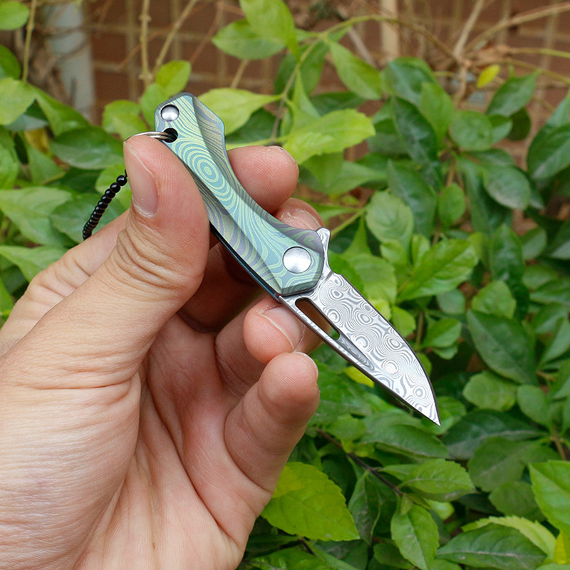 Folding Knife Handle Tools Titanium Swayboo Mini Knife Pocket Damascus Camping Hand Knives Outdoor Necklace Keychain