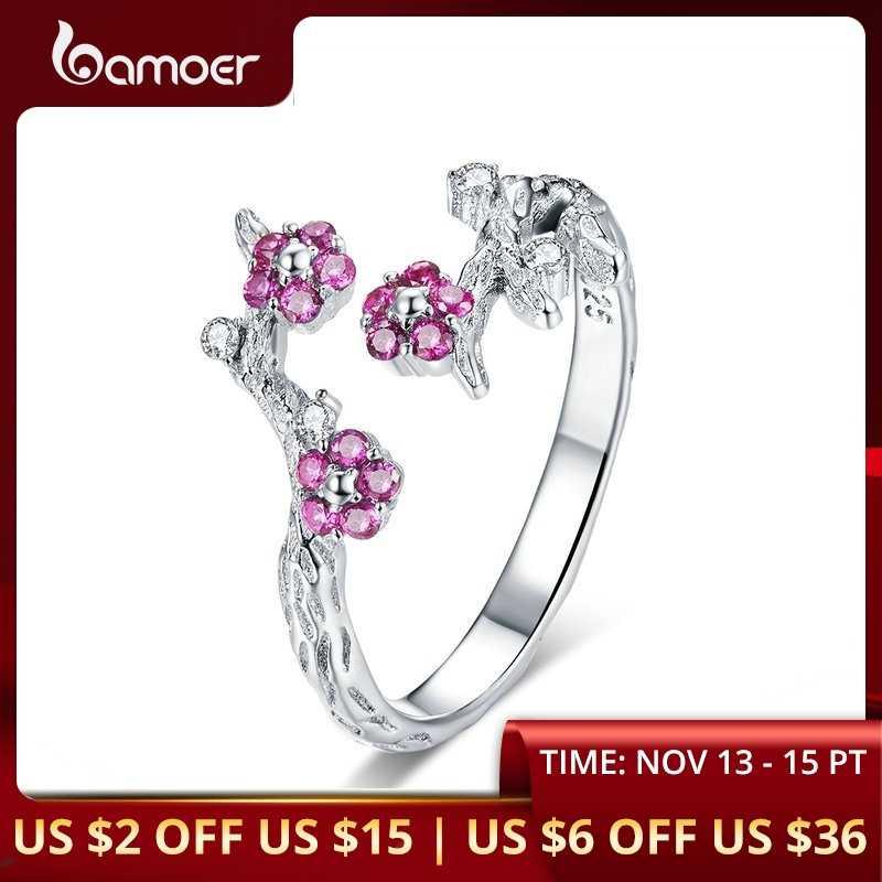 BAMOER 100% 925 เงินสเตอร์ลิงฤดูหนาว Blooming ดอกไม้พลัมขนาดเปิดแหวนสำหรับเครื่องประดับหมั้นผู้หญิงเครื่องประดับ BSR022