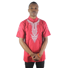 Red Abstract Antelope Embroidery Men`s Ethnic Tops Summer Short Sleeved Mandarin Collar Dashiki Shirts for Wedding Wearing