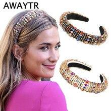 AWAYTR-diademas coloridas acolchadas con diamantes de imitación para mujer, bandanas de cristal de lujo de edición limitada, diadema barroca para mujer
