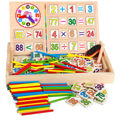 With Numbers Computing Box Of Wooden Children Wooden Box Counting Sticks Color Cognitive Educational Early Childhood Toy