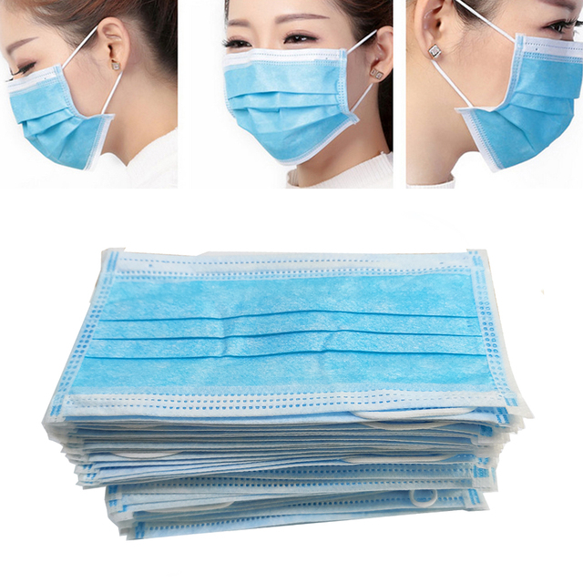 Disposable Cotton Anti Dust Mouth Mask Windproof Protective Bacteria Proof Flu 3Layer Non Woven Safety Facial Face Cover Earloop 2