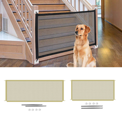 Tall Pet Dog Gate Retractable Safety Guard Foldable Toddler Stair Gate Isolation  Ingenious Mesh Dog Fence Indoor Outdoor