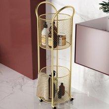 Luxury removable organizer with wheels cylindrical storage basket shelf bathroom floor multilayer storage rack trolley