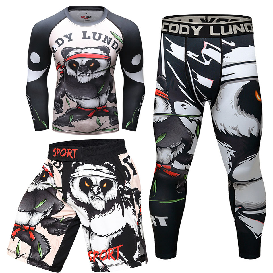 jiu jitsu rushguard mma t-shirts+pants men muay thai shorts mma boxing jerseys sets bjj gi compression sport suits gym clothes image