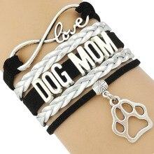 Infinity Love Dog Mom Doggie Paw Print Bracelets
