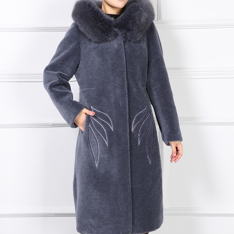 Winter 2020 Jacket Women Clothing Real Fur Coat Female With Fox Fur Collar Hooded Thick Sheep Shearing Long Jackets 6252 S