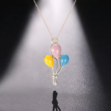 Chereda Dripping Oil Colorful Necklaces&Pendants Balloon Classic Women Necklace Cute Children Sweet Choker Short Chain Pendant(China)