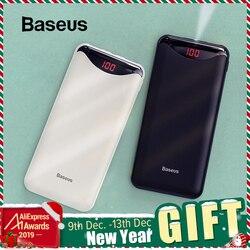 Baseus magro 10000 mah power bank duplo usb powerbank com lanterna para iphone 11 pro samsung mini portátil bateria externa
