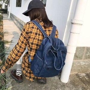 Image 3 - حقيبة ظهر عادية الإناث الدنيم حقيبة المدرسة عالية الجودة كلية في سن المراهقة فتاة الحقائب المدرسية النساء حقيبة ظهر الطالب
