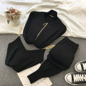 New 3pcs Knitting Suit Long-sleeved Zip Jacket Cardigans Tank Top Pants Women Fashion Solid Lounge Set Casual Tracksuits 8