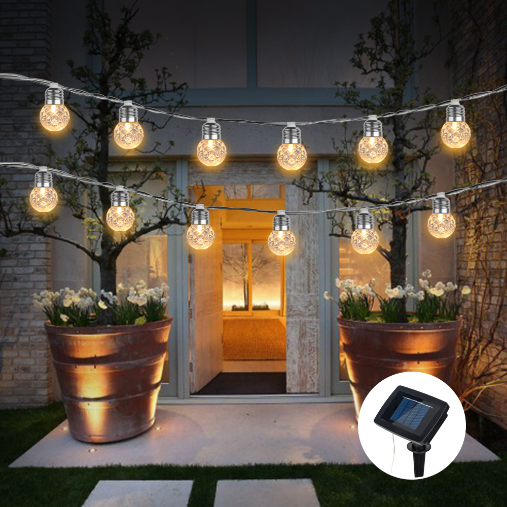 Waterproof Solar Globe Bulb String Lights Outdoor Pineapple Ball LED Light String Garland Patio Chain Lamps Christmas Decoration