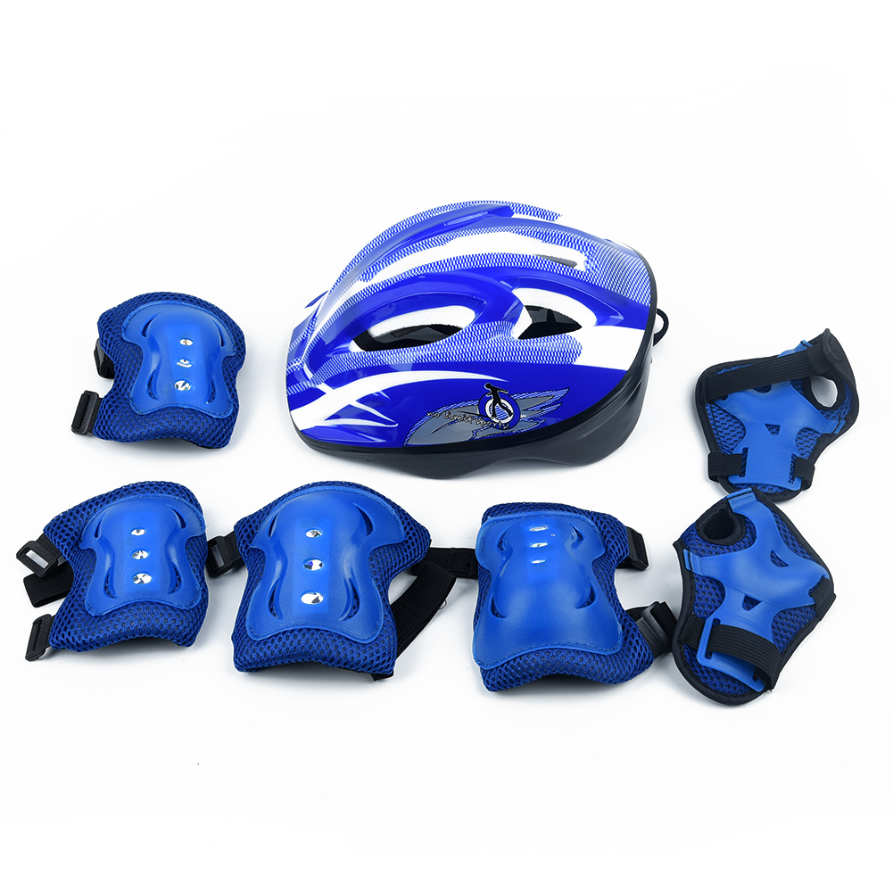 7pcs/set Child Bicycle Skateboard Protective Gear Sets Helmet Knee Elbow Pads Ice Skating Roller Wrist Knee Protector Set Kit