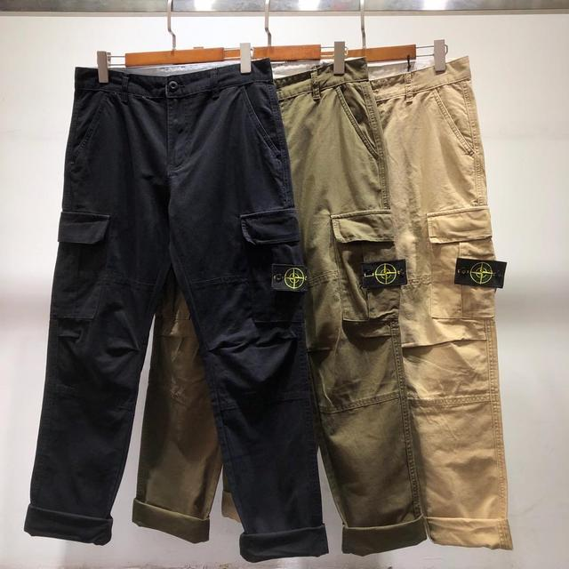 Popular Brand Stone Island 19ss Base-Multi-pockets Bib Overall Casual Pants Classic Style Straight-Cut Casual Trousers 2